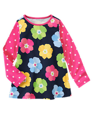 Spring Navy Floral Flower Dot Tee by Gymboree