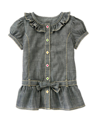 Girls Chambray Flower Button Chambray Tunic Top by Gymboree