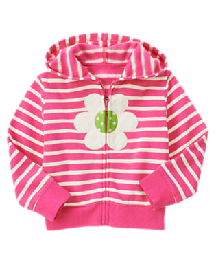 Girls Daisy Pink Stripe Flower Stripe Fleece Hoodie by Gymboree