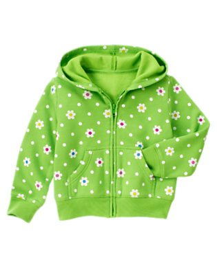 Girls Clover Green Flower Dot Flower Dot Fleece Hoodie by Gymboree
