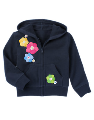 Girls Spring Navy Flower Fleece Hoodie by Gymboree