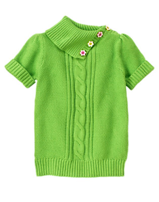 Girls Clover Green Flower Button Cable Sweater by Gymboree