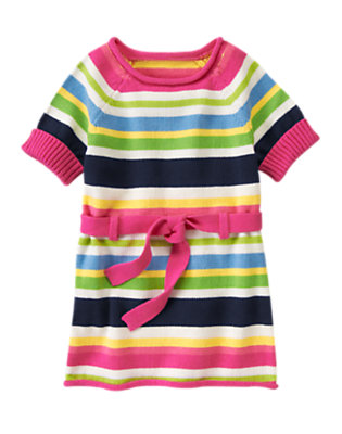 Girls Clover Green Stripe Stripe Belted Sweater Tunic by Gymboree