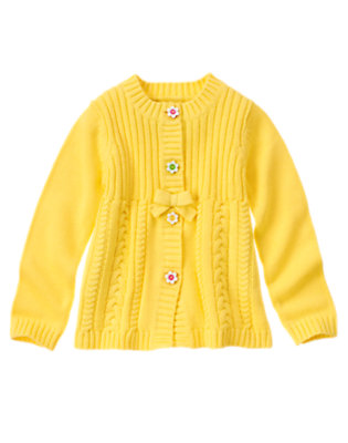 Girls Sunny Yellow Flower Button Sweater Cardigan by Gymboree