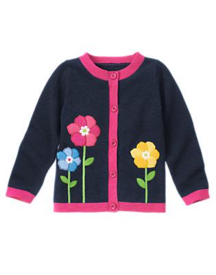 Girls Spring Navy Growing Flowers Sweater Cardigan by Gymboree