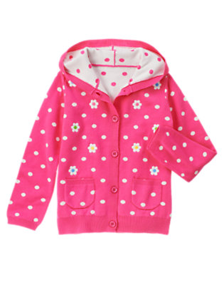 Girls Daisy Pink Dot Embroidered Flower Dot Sweater Hoodie by Gymboree