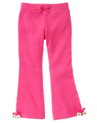 Girls Daisy Pink Bow Flower Fleece Pant by Gymboree