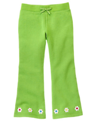 Girls Clover Green Embroidered Flower Fleece Pant by Gymboree