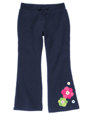 Girls Spring Navy Flower Fleece Pant by Gymboree