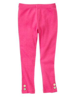 Girls Daisy Pink Flower Button Cuff Legging by Gymboree