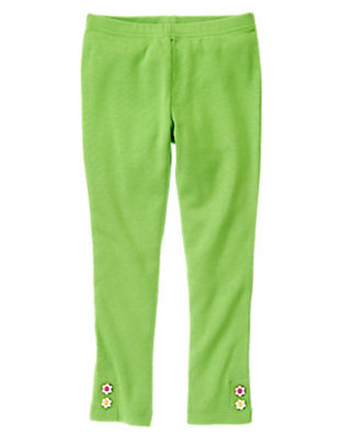 Girls Clover Green Flower Button Cuff Legging by Gymboree