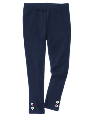 Girls Spring Navy Flower Button Cuff Legging by Gymboree