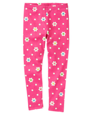 Girls Daisy Pink Flower Dot Flower Dot Legging by Gymboree
