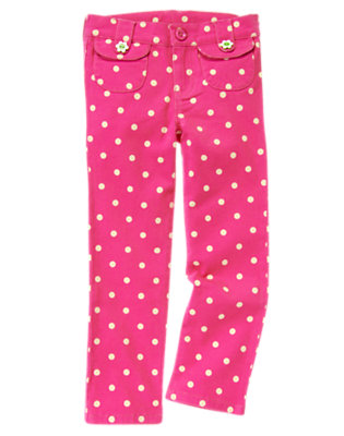 Girls Daisy Pink Dot Flower Button Dot Pant by Gymboree