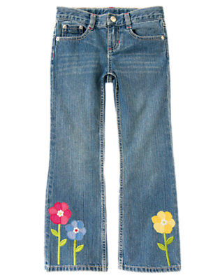 Denim Flower Button Bootcut Jean by Gymboree