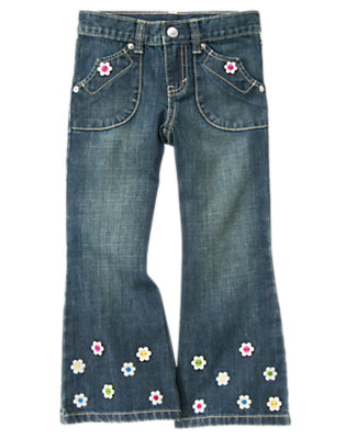 Girls Denim Flower Flare Jean by Gymboree