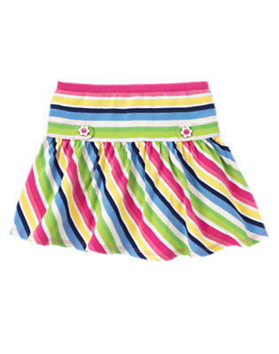 Girls Clover Green Stripe Flower Button Stripe Skort by Gymboree