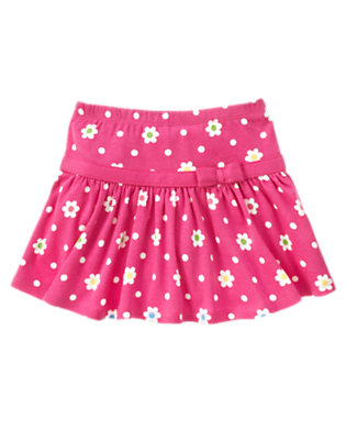 Girls Daisy Pink Flower Dot Flower Dot Skort by Gymboree