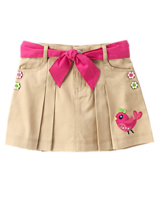 Girls Khaki Gem Bird Belted Skort by Gymboree