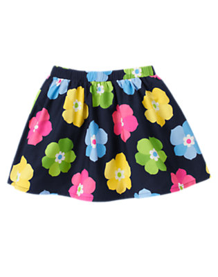 Girls Spring Navy Floral Flower Skirt by Gymboree
