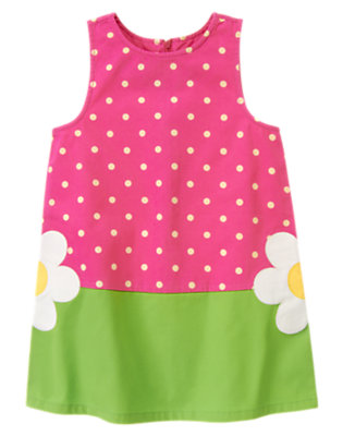 Girls Daisy Pink Dot Dot Flower Jumper by Gymboree