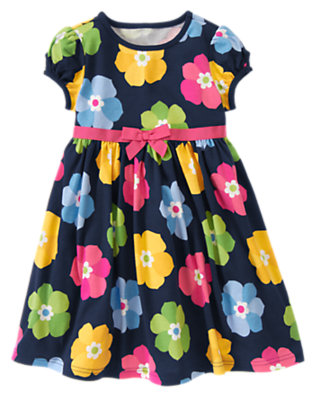 Girls Spring Navy Floral Bow Flower Dress by Gymboree