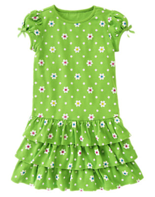 Girls Clover Green Flower Dot Flower Dot Ruffle Dress by Gymboree