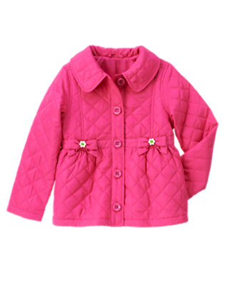 Daisy Pink Bow Pocket Quilted Jacket by Gymboree