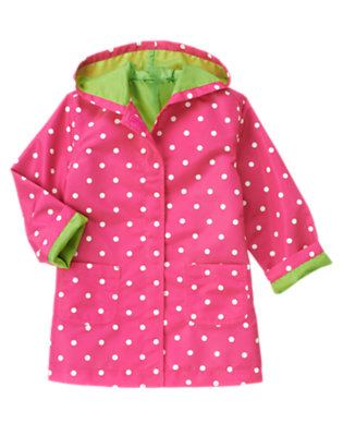 Girls Daisy Pink Dot Dot Hooded Raincoat by Gymboree