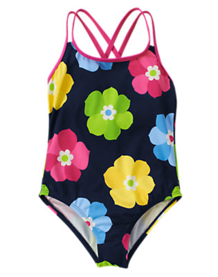Girls Spring Navy Floral Flower One-Piece Swimsuit by Gymboree