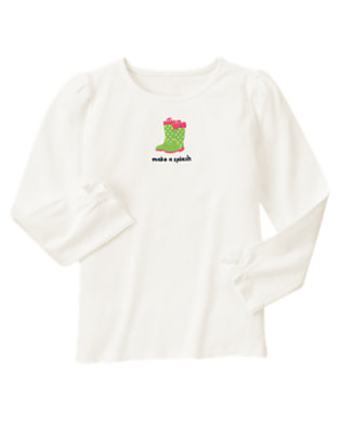 Ivory Rainboot Bow Long Sleeve Tee by Gymboree