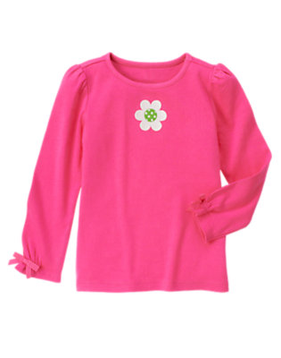 Daisy Pink Flower Bow Long Sleeve Tee by Gymboree