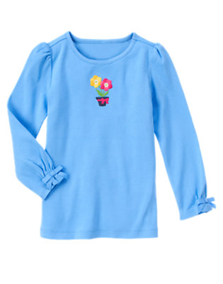 Songbird Blue Flower Pot Bow Long Sleeve Tee by Gymboree