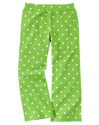 Girls Clover Green Dot Dot Flare Pant by Gymboree