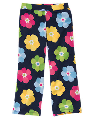 Girls Spring Navy Floral Flower Flare Pant by Gymboree