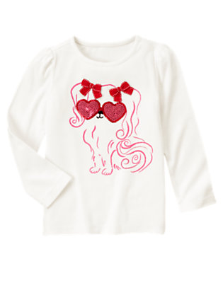 Ivory Sequin Heart Puppy Tee by Gymboree