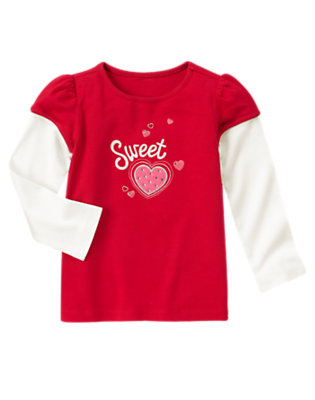 Valentine Red Sweet Gem Heart Double Sleeve Tee by Gymboree