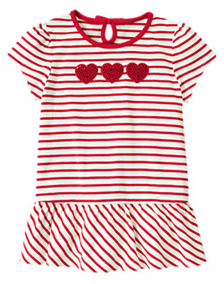 Valentine Red Stripe Sequin Heart Stripe Tunic Top by Gymboree