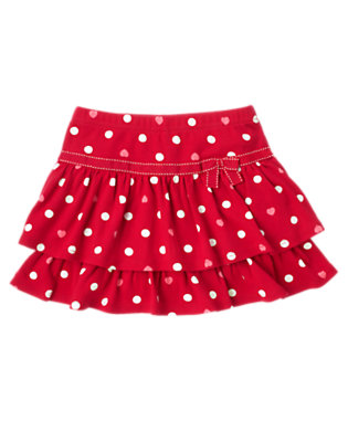 Girls Valentine Red Dot Heart Dot Tiered Skort by Gymboree