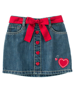 Girls Denim Heart Belted Jean Skort by Gymboree