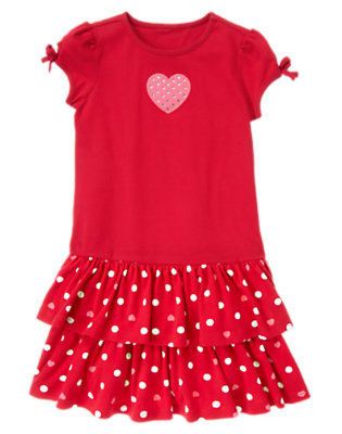 Girls Valentine Red Gem Heart Ruffle Dress by Gymboree
