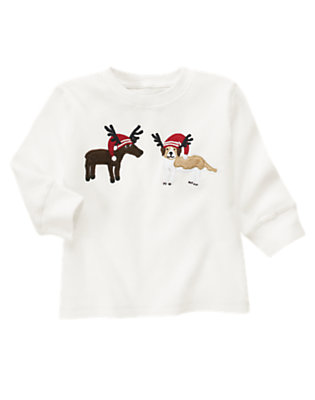 Ivory Reindeer Puppy Thermal Tee by Gymboree