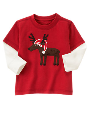 Alpine Red Holiday Reindeer Double Sleeve Tee by Gymboree