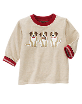 Tan Heather Rescue Puppies Stripe Reversible Tee by Gymboree