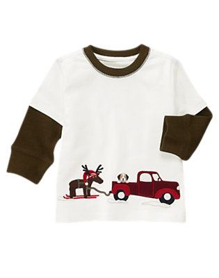 Ivory Reindeer Truck Double Sleeve Tee by Gymboree