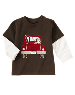 Dark Brown Mountain Patrol Puppy Double Sleeve Tee by Gymboree