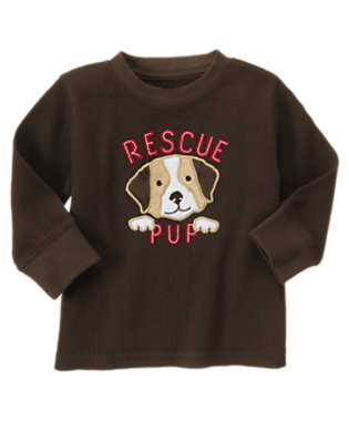 Toddler Boys Dark Brown Rescue Pup Thermal Tee by Gymboree