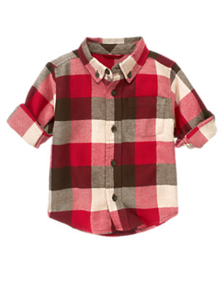 Alpine Red Plaid Buffalo Plaid Flannel Shirt by Gymboree