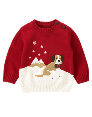 Alpine Red Rescue Pup Sweater by Gymboree
