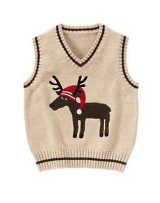 Tan Heather Holiday Reindeer Sweater Vest by Gymboree